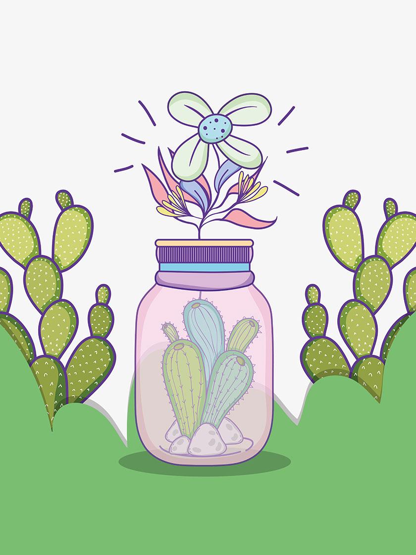 【eps矢量】 卡通 创意 手绘风格 植物 仙人球 仙人掌 花 瓶子
