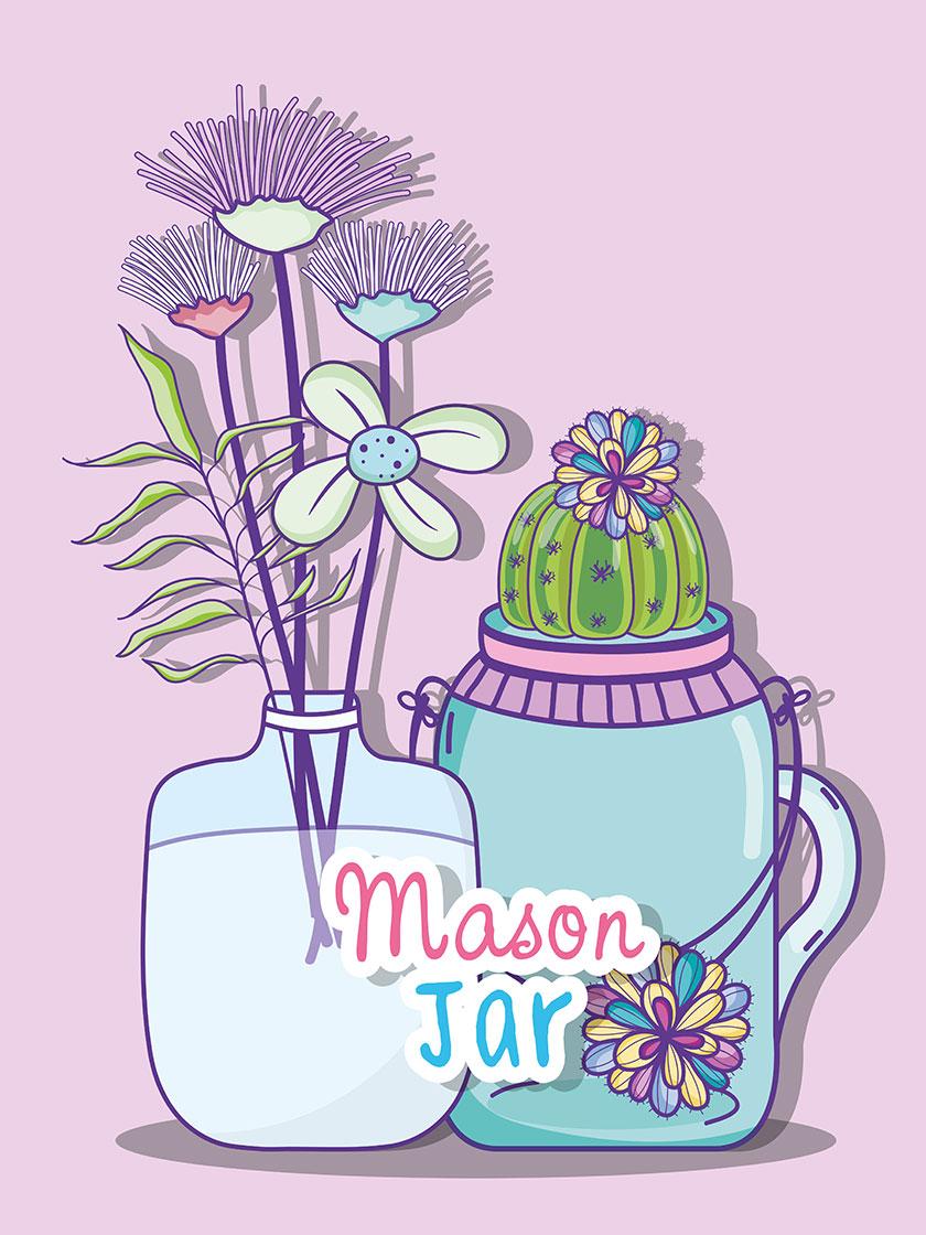 【eps矢量】 卡通 创意 手绘风格 植物 仙人球 仙人掌 花 瓶子 墙砖